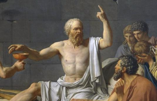 The Death of Socrates, by Jacques-Louis David (detail).